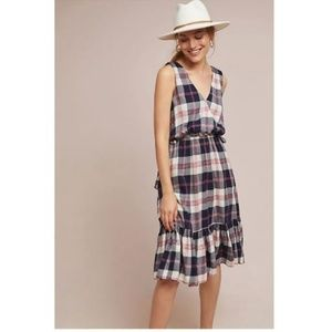 NEW Anthropologie Dickens Red & Blue Plaid Dress